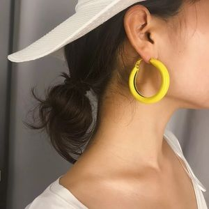Yellow and White Cute Hoop Earrings